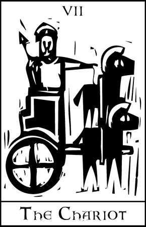 Woodcut expressionist style image for the Tarot card of the Chariot