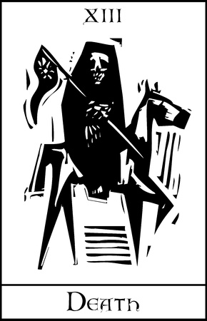 cartomancy: Woodcut expressionist style Tarot card for death number thirteen