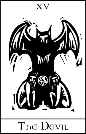 Woodcut expressionist style Tarot card for the devil Ilustracja