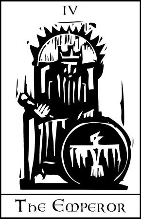 tarot: Woodcut expressionist style image of the Tarot Card for the Emperor Illustration