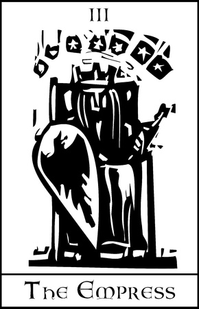 empress: Woodcut expressionist style image of the Tarot Card for the Empress