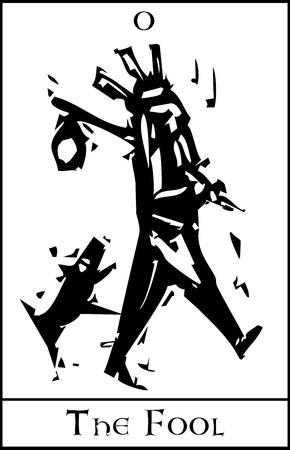 tonto: Imagen del grabar en madera estilo expresionista de la Carta del Tarot para el Loco