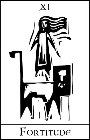Woodcut expressionist style Tarot Card Major Arcana image of Fortitude Illustration