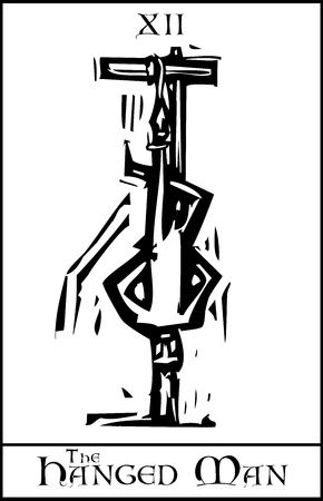 ahorcada: Grabado en madera estilo expresionista imagen Tarjeta de Tarot Arcanos Mayores del ahorcado