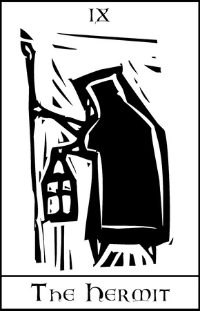 wandering: Woodcut expressionist style Tarot card image of the Hermit