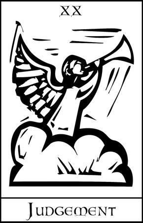 Xilografia immagine stile espressionista per il giudizio carta dei Tarocchi Vettoriali