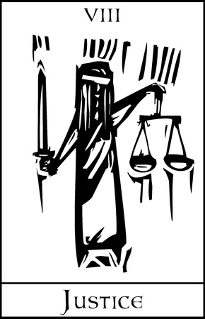 Woodcut expressionist style Tarot Major Arcana image of Justice Vectores
