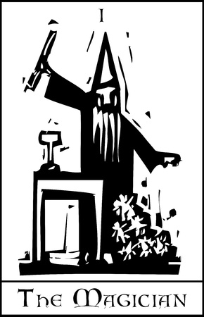 Woodcut expressionist style image of the Tarot Card for the Magician Ilustração