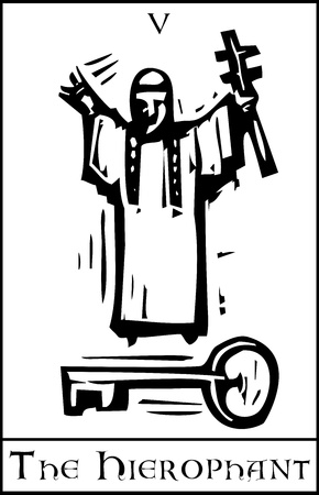 Xilografia carta dei Tarocchi stile espressionista per lo Ierofante