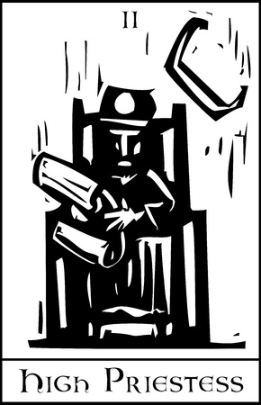 Woodcut expressionist style image of the Tarot Card for the Priestess