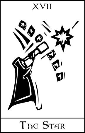 Gravure sur bois expressionniste carte de tarot de style pour le Star Banque d'images - 17724368
