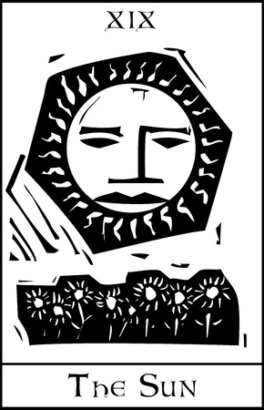Woodcut expressionist style Tarot sun with face and sunflowers