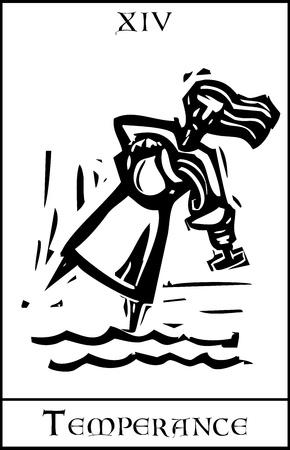 alcoholismo: Grabado en madera tarjeta de Tarot estilo expresionista de la imagen de la Templanza Vectores