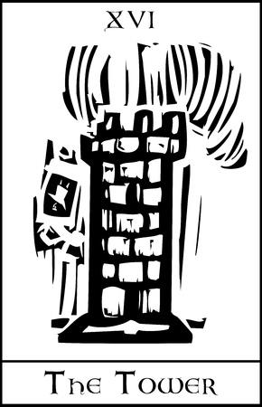 Xilografia espressionista carta dei Tarocchi di stile per il numero 16 della torre Archivio Fotografico - 17724383