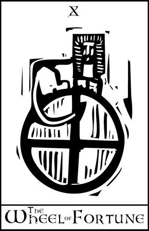 rueda de la fortuna: Grabado en madera estilo expresionista imagen Tarjeta de Tarot Arcanos Mayores de la Rueda de la Fortuna