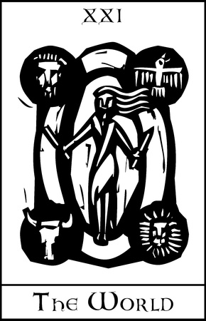 tarot: Woodcut expressionist style image of the Tarot Card for the World