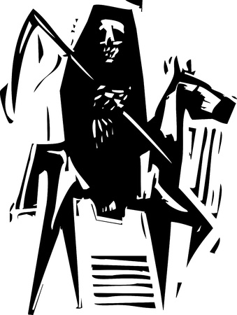 expressionist: Woodcut expressionist style image of Death on a horse