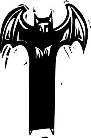 threat: Woodcut expressionist style devil or demon with wings