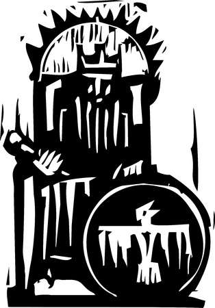 expressionist: Woodcut expressionist style image of a king on a throne