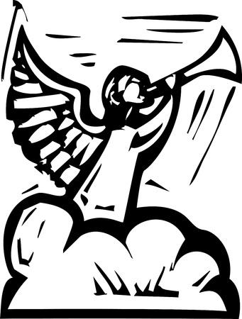 Gravure sur bois image de style expressionniste d'un ange dans les nuages ??soufflait dans une trompette Banque d'images - 17724347