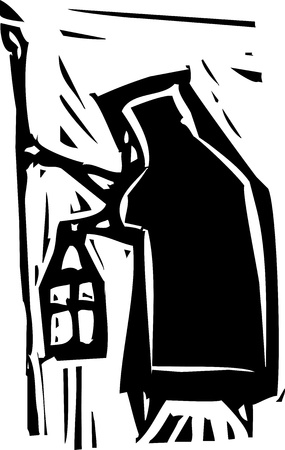 homelessness: Woodcut expressionist style image of an old woman with a staff and lamp