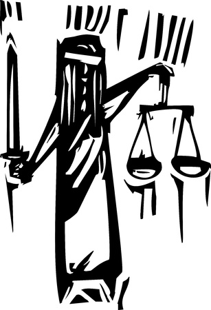 Woodcut expressionist style of the metaphor for blind justice  向量圖像