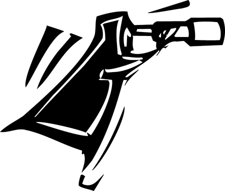 Woodcut expressionist style image of a spy with a telescope