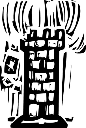 Woodcut expressionist style of a castle tower with a person falling off