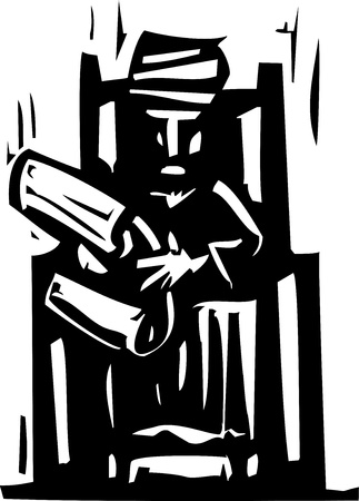 throne: Woodcut expressionist style image of man in a turban reading a scroll