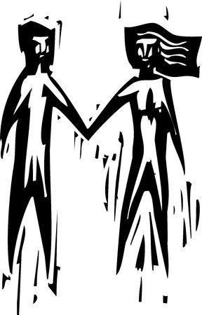 Woodcut expressionist style of a man and a woman holding hands