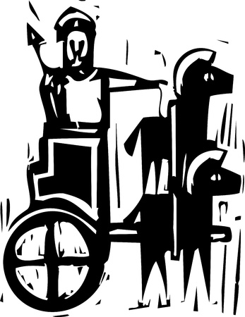 Woodcut expressionist style image a Greek warrior in a chariot drawn by two horses Illustration