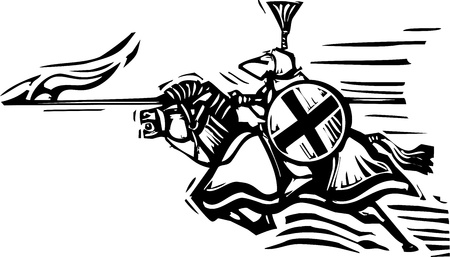 joust: Woodcut expressionist style image of a jousting knight