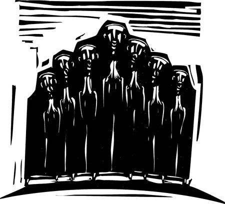 Woodcut expressionist style image of a religious choir