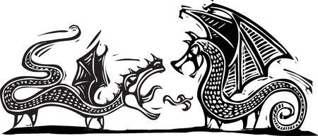 expressionist: Woodcut expressionist style image of two fighting dragons