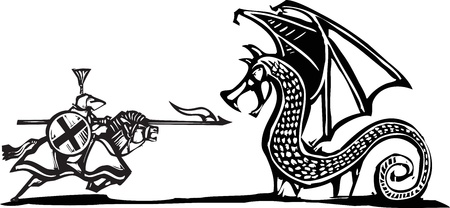 expressionist: Woodcut expressionist style image of a mounted knight fighting a dragon