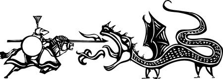 Imagen del grabar en madera estilo expresionista de una pelea con un caballero y el dragón Foto de archivo - 17855166