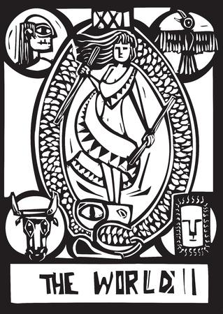 Xilografia stile espressionista della carta dei Tarocchi per il Mondo Vettoriali