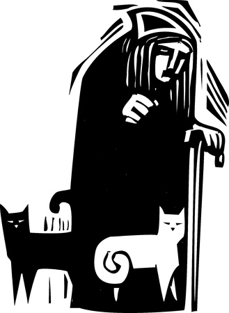 Woodcut style image of an old woman with black and white cats Illusztráció
