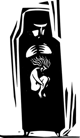 burka: Woodcut style Woman in Islamic hijab and the person inside her