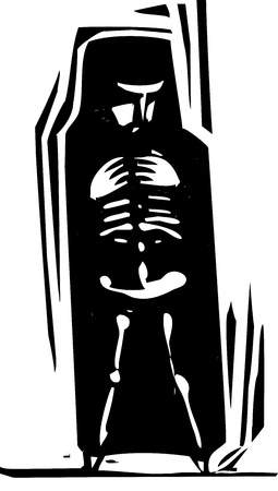 burka: Woodcut style person with her skeleton visible