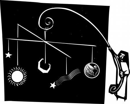 systeme solaire: Le style de gravure sur bois d'une religieuse tenant un mobile du syst�me solaire