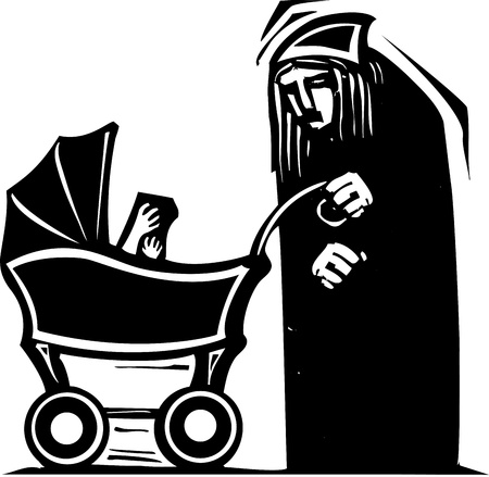 infant: Woodcut style old woman pushing an infant in a baby carriage