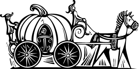 Fairytale Cinderella in Pumpkin carriage rendered in a woodcut style Vectores