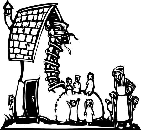 靴に住んでいるお婆さんのおとぎ話木版画のイメージ  イラスト・ベクター素材
