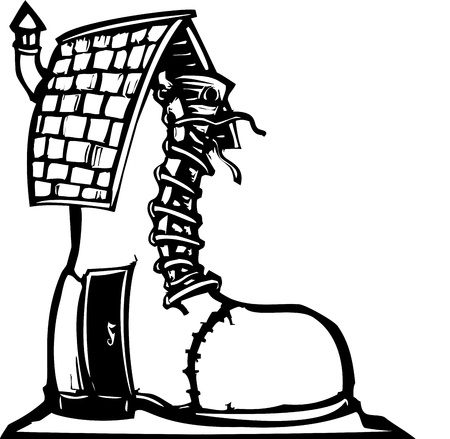 old shoes: Fairytale woodcut style image of a house made from an old boot