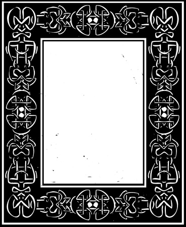 european culture: Woodcut style Celtic border in a frame