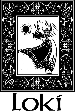 norse: Woodcut style image of the Viking God Loki in a Celtic border  Illustration
