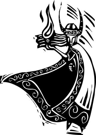 바이킹 하나님 로키의 목 판화 스타일 이미지 일러스트