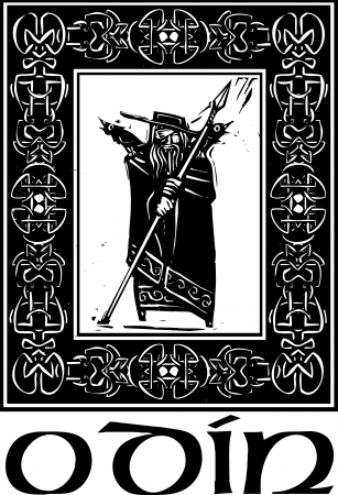 Woodcut style image of the Viking God Odin in a Celtic border