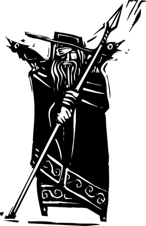 바이킹 신 오딘의 판화 스타일 이미지 일러스트